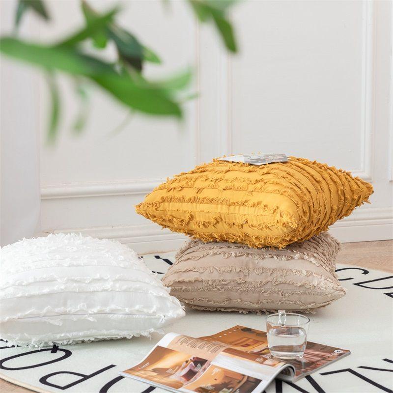 Luxury Cushion Cover Decoration Tassel Pillowcase Square Cotton Linen Pillow Case Nordic Sofa Throw Pillows Cover Home Decor 627 V2