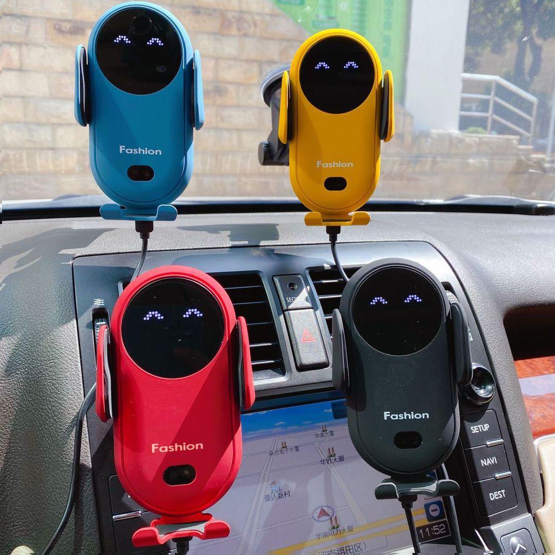 أعلى جودة S11 مبتسم سيارة شاحن لاسلكي الاستشعار التلقائي لفتح الأسلحة سيارة الهواء منفذ الهاتف المحمول حامل 4 ألوان دي إتش إل