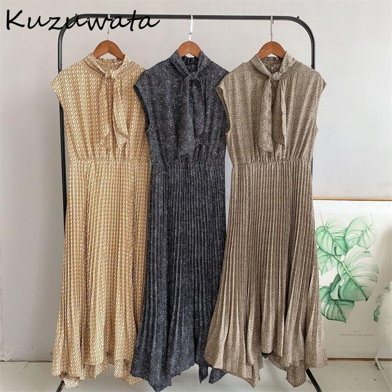 Kuzuwata шикарный нерегулярный дизайн печати женское платье новых старинных рубашки без рукавов Draped Vestidos Spring Drawstring рубашка платья 210320