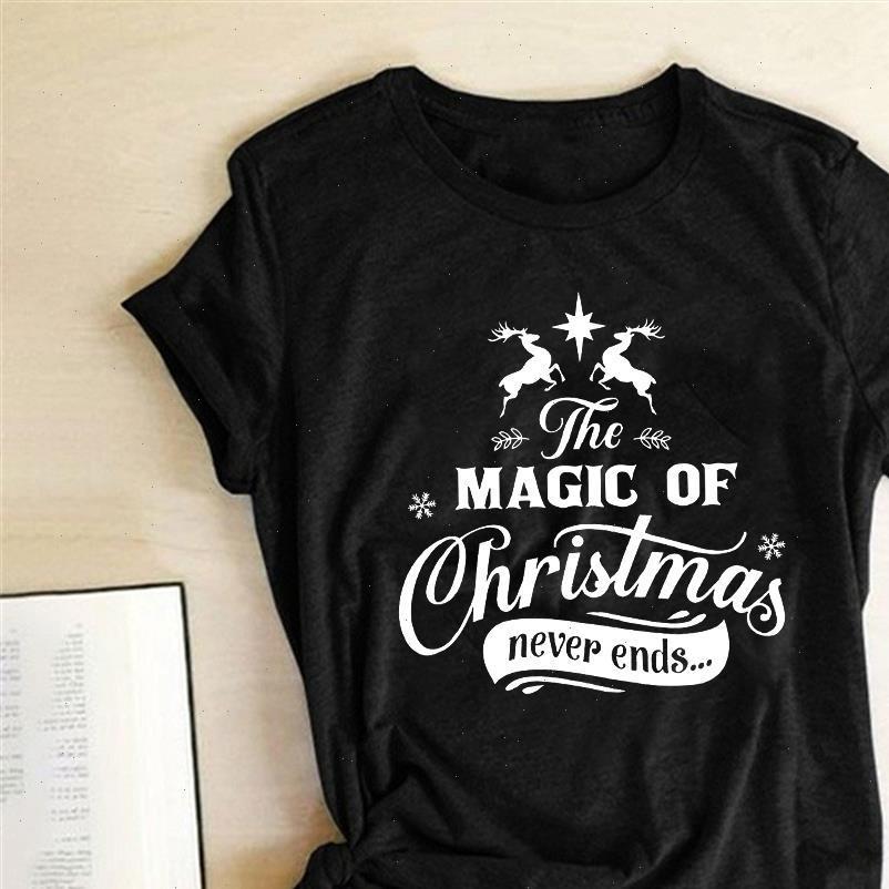 La magia dei T-shirt da donna di Natale non finisce mai stampata estate grafica tees tees estetica a girocollo donna con tetti di cotone donna