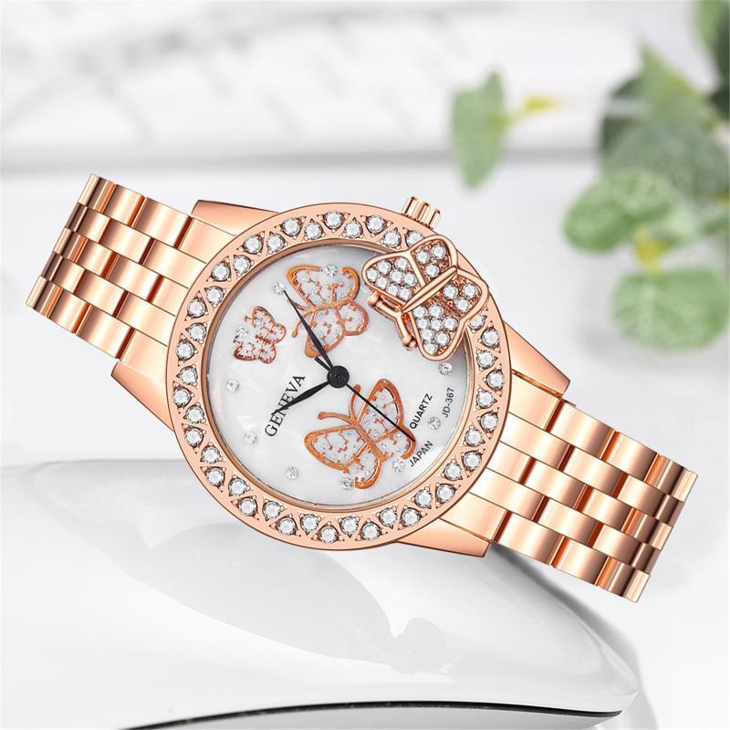 Lüks Kristal Kadın Bilezik Saatler Moda İzle 3D Kelebek Elmas Bayanlar Kuvars Çelik Kadın Kol Saati Saatı
