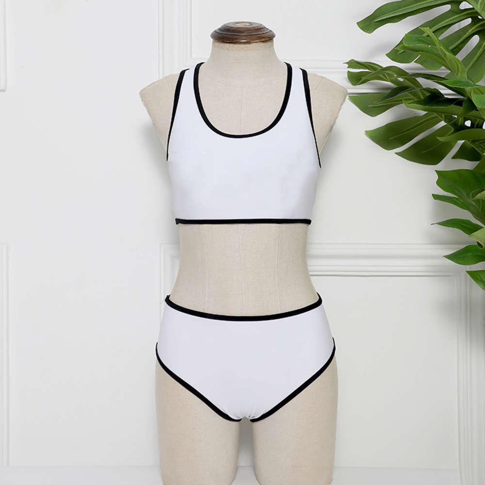 Swimwear per donna stampato a colori solido Costume da bagno in vita alta Elasticità da bagno in due pezzi Sexy Ladies Beach Swim Bikini Costume da bagno