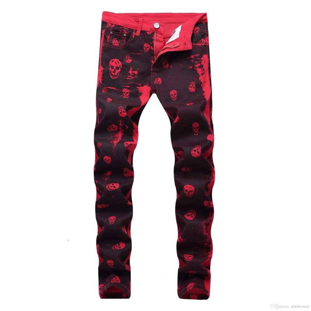 Mens Trousers Casual Red Denim Zipper Print Jeans Fashion Male Long Pants Motorcycle Biker Washing Jeans