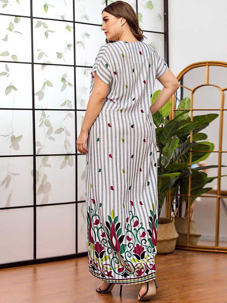 플러스 사이즈 드레스 세련된 목선 자수 스트라이프 롱 드레스 짧은 소매 여름 편안한 Viscose 인쇄 아랍 의류