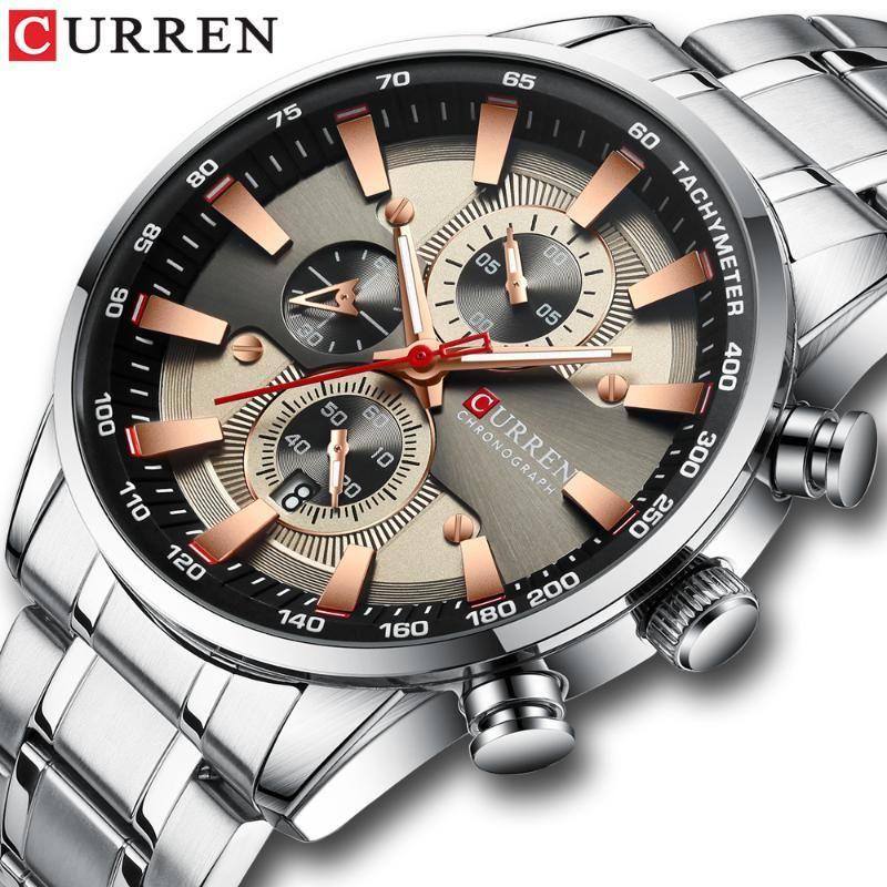 Montre-bracelet pour homme avec bracelet en acier inoxydable mode quartz chronographe de quartz chronographe de chronographe lumineux montres de sport uniques montre-bracelet