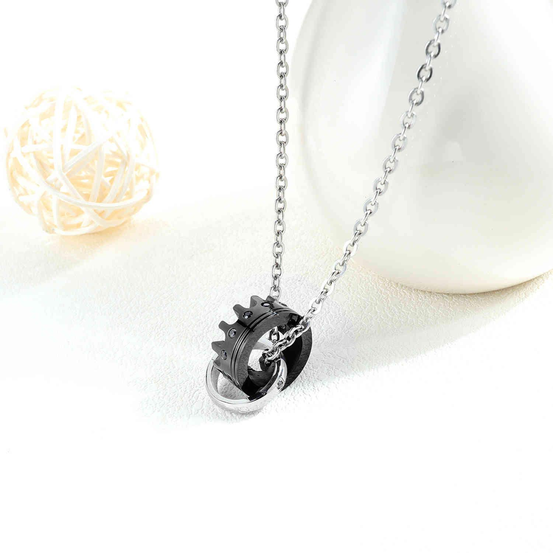 La sua regina la sua collana in acciaio in acciaio in acciaio in titanio con collana pendente in corona diamantato Tanabata