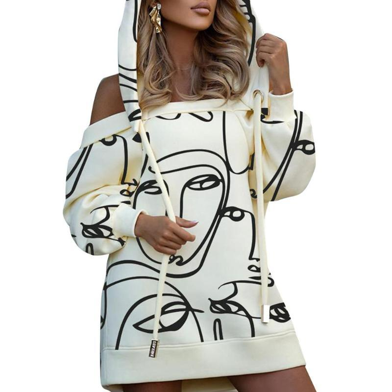 Damenmode Straße Hip Hop Style Kurze Kleider Langarm Kapuzenhals Hals Printed Mini Casual