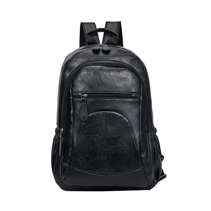 Backpack ZROM Soft Men's Leather Fashion Large-Capacity Travel Bag Waterproof Backpacks Men Student Wear-Resistant