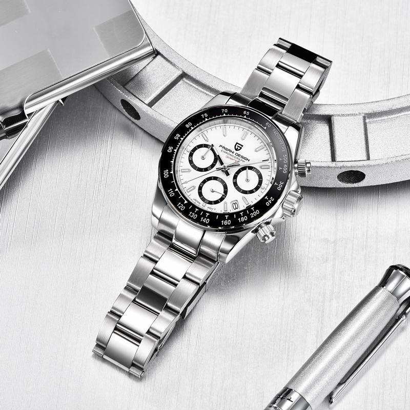 Sapphire espelho relógios masculinos de quartzo de negócios relógio de pulso homens 100m impermeável esporte cronógrafo reloj hombre relógios de pulso