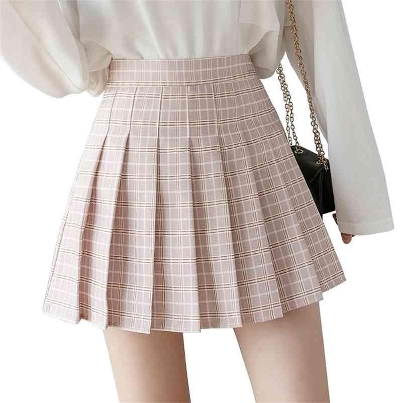 Autumn Frauen Röcke Neue Koreanische Hohe Taille Plaid Minirock Frauen Schule Mädchen Sexy Niedliche Plissee Rock mit Reißverschluss 210324