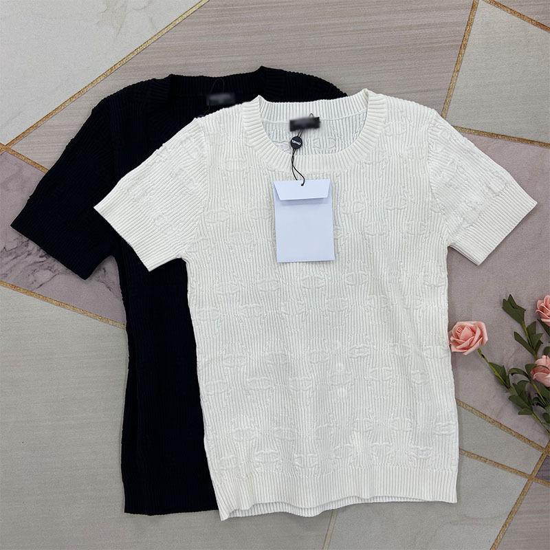 325 2021 الربيع الصيف العلامة التجارية نفس النمط البلوزات جودة عالية طاقم الرقبة طباعة منتظم قصيرة الأكمام البلوز طباعة المرأة ملابس بيضاء سترة سوداء KF