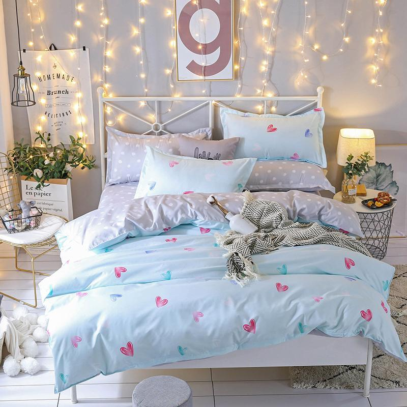 Bettwäsche-Sets 2021 Home Textile 3 / 4pcs Bettbezug Kissenbezug Bett Blatt Mädchen Sweet Heart Leinen König Königin Full Twin Größe