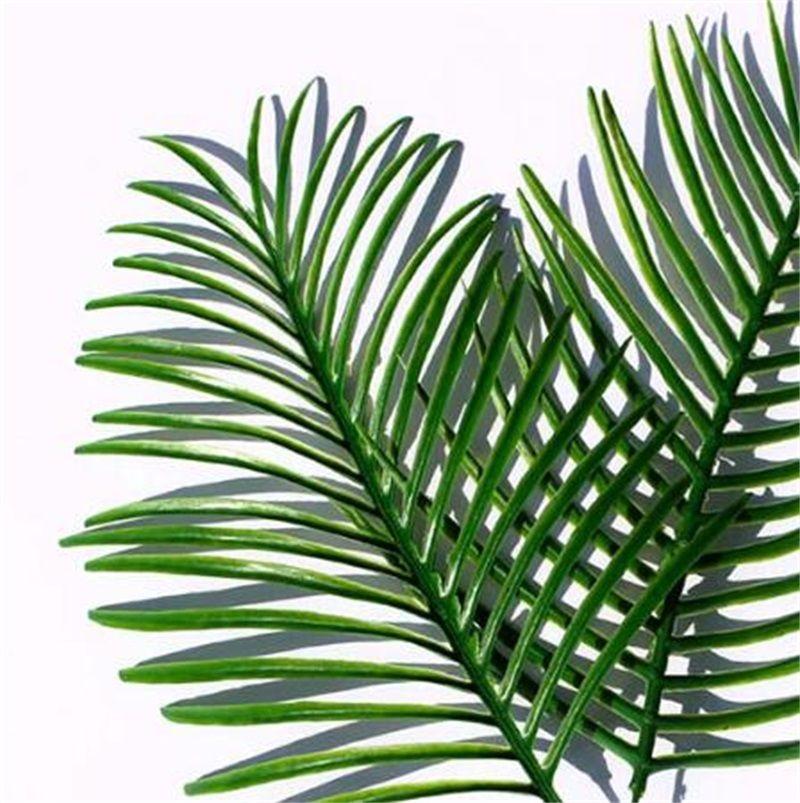 Hojas de palmeras tropicales artificiales Faux Faux gran palmera hoja verde vegetación para flores Arreglo Boda casa fiesta decoración 232 v2