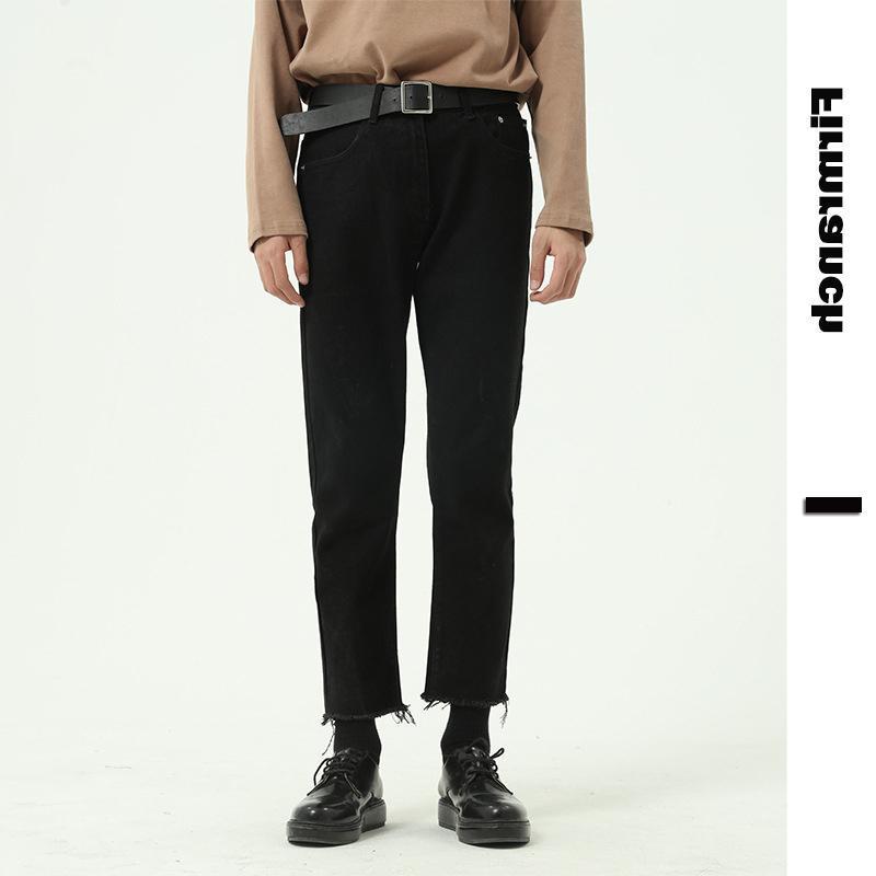 Jeans masculinos primavera homens / mulheres pretas emagrecimento casual lápis japonês calças retas áspero selvedge nona calça