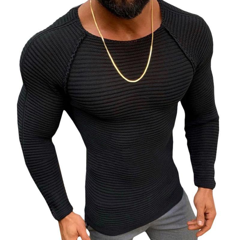Maglione uomo magro nero autunno inverno inverno manica lunga girocollo al collo allenamento fitness mens albicocca maglia maglioni maglioni maglioni maschili