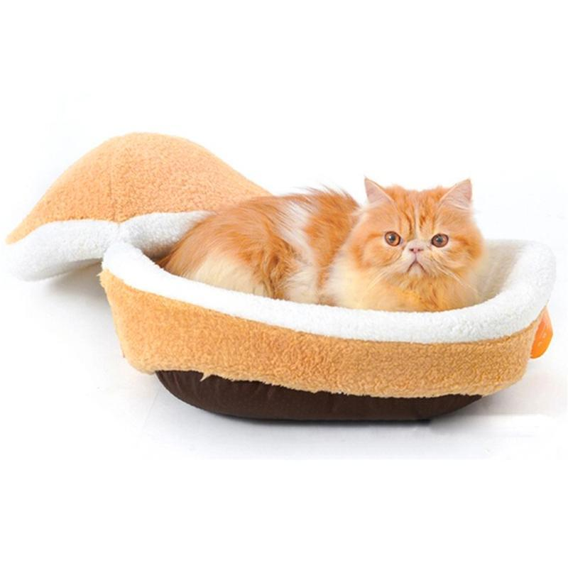 Cat Beds & Furniture Hamburger Dog House Removable Sleeping Bag Sofas Mat Short Plush Small Pet Bed Warm Puppy Kennel Nest Cushion Products