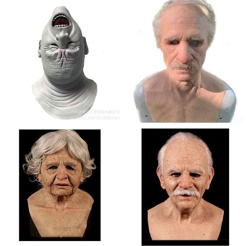 Gerçekçi Cadılar Bayramı Cosplay Kostüm Sahne Silikon Tam Yüz Sahne Eski Erkek Fetiş Gerçek Cilt Masquerade Parti Tam Kafa Maskeleri