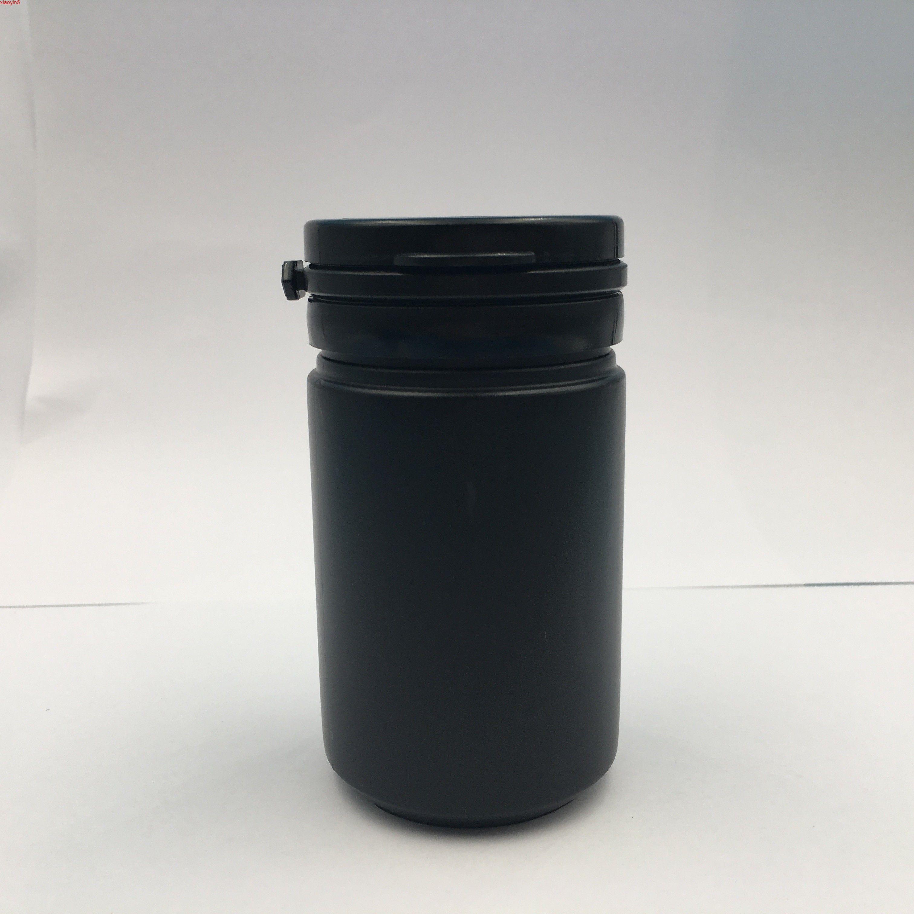 Yüksek QuatityFree Nakliye 60 80 ml Siyah Plastik Boş Şişeler Hap Tozu Tereyağı Ambalaj Konteyner Kolu Kapak 50 ADET Kapsül Kavanoz