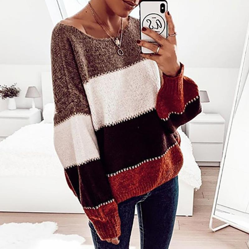 Frauenpullover Farbblock Pullover Frauen Gestrickte Pullover Langarm O Hals Lose Beiläufige Jumper Kleidung Herbst Winter Warm