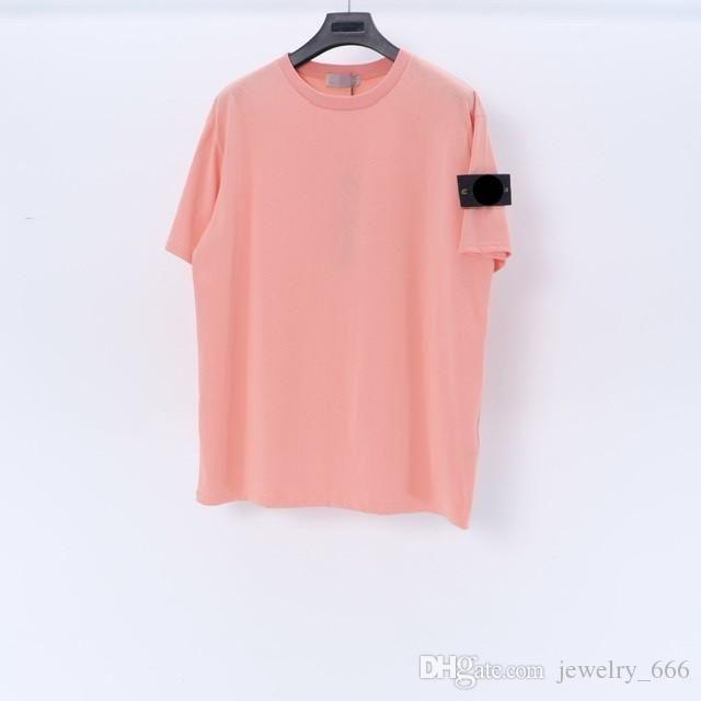2021Summer Taş Erkekler Trendy Island Koleksiyonu Pusula Logosu Yama T Gömlek Pamuk Kadın Katı Tees Stil Streetwear Rahat 042311