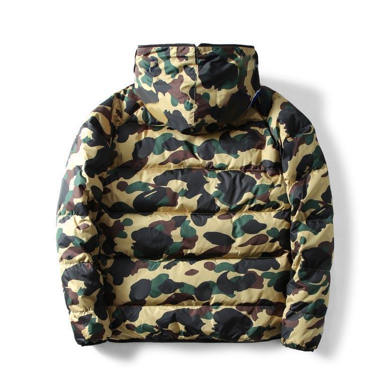الرجال أسفل معطف الشتاء الأزياء التمويه طباعة 3 شريط سترة دافئة الاتجاه رسالة ورقة الطباعة رجل جاكيتات الرجال قميص معاطف الحجم S-2XL