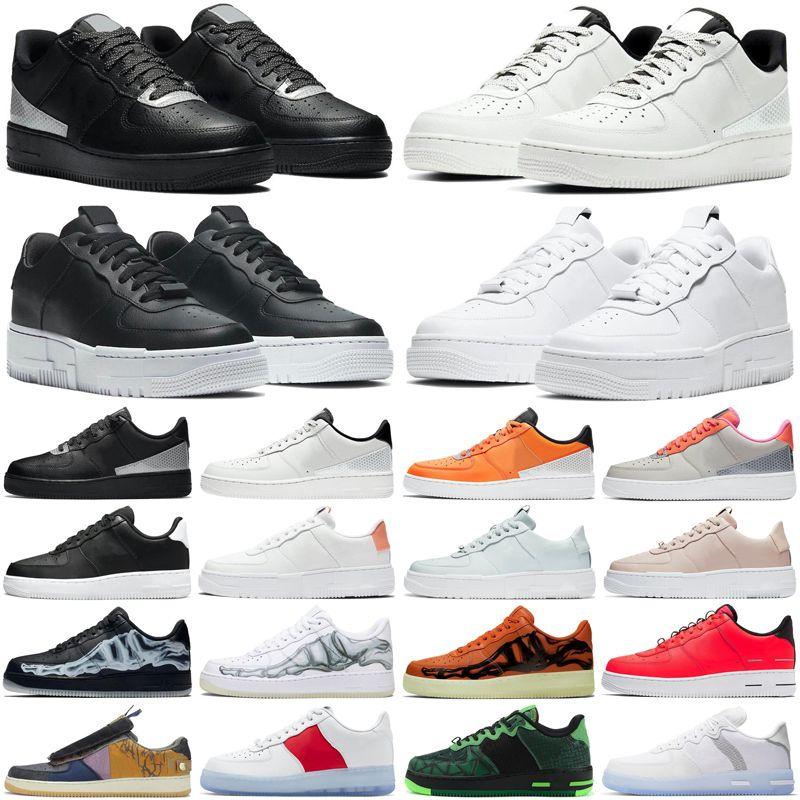 force 1 af1 dunks حذاء رياكت بيكسل دونك للرجال والنساء حذاء ثلاثي أسود أبيض منخفض أحذية رياضية للرجال والنساء