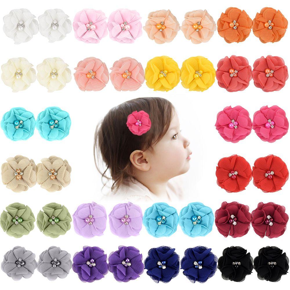 Solid Novelty Small Flower Hair Bows Rhinestone Pearl Baby Gilr Hair Clip Headwear Barrettes Hair Accessories