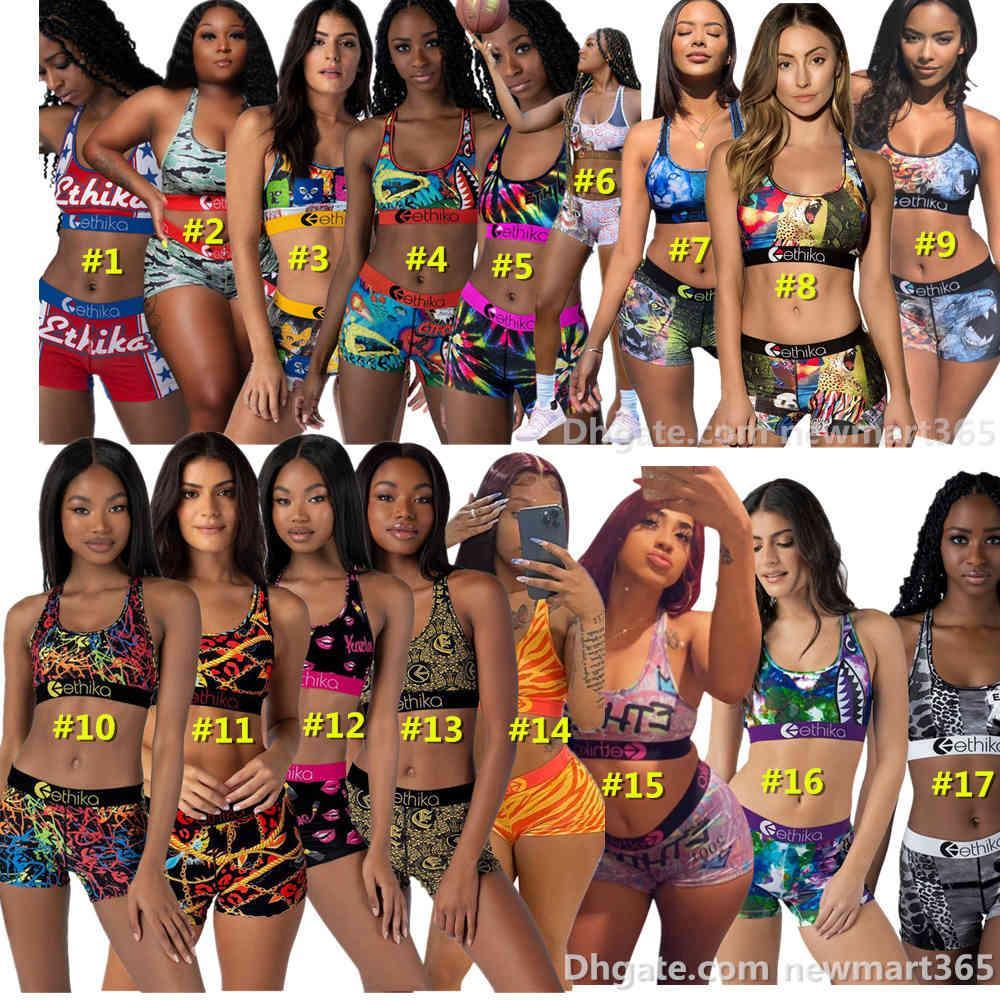 여성 수영복 Ethika Tracksuits 두 조각 세트 민소매 짧은 바지 국제 패션 맞춤형 인쇄 수영복