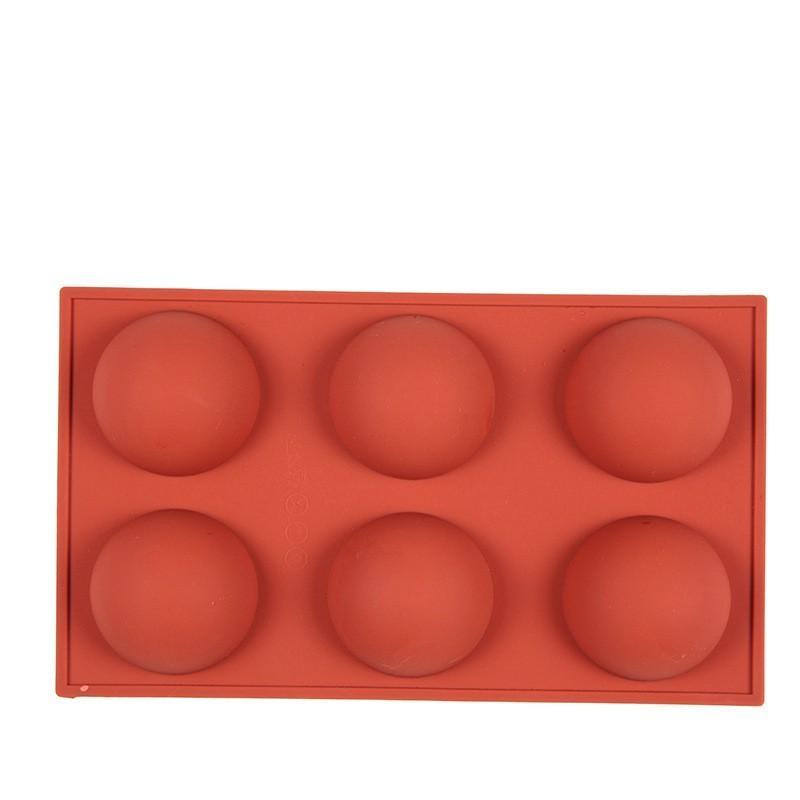 6 hoyos Molde de silicona para chocolate, pastel, jalea, pudín, jabón hecho a mano, forma redonda Semi esfera grande Silicona DIY Molde 323 R2