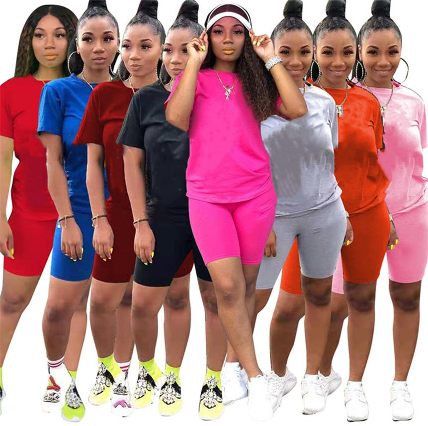 Plus size Women Tracksuits solid color Two piece sets sports Outfits summer clothing short sleeve t shirt+slim shorts casual jogger suit S-2XL 4678