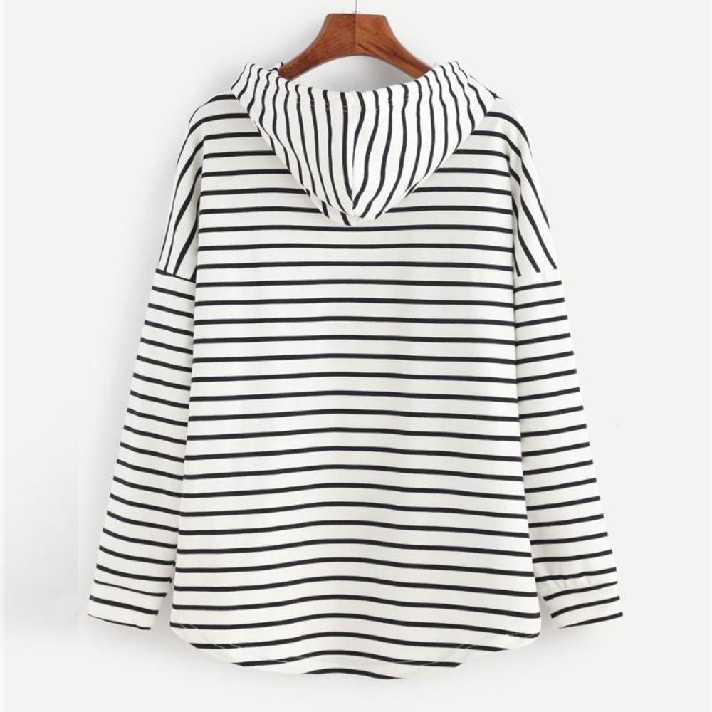 ZOGAA 2020 Fashion Women Hoodies Ladies Stripe Printed Sweatshirts Casual Cotton Streetwear Loose Plus Size Womens Hooded Coat
