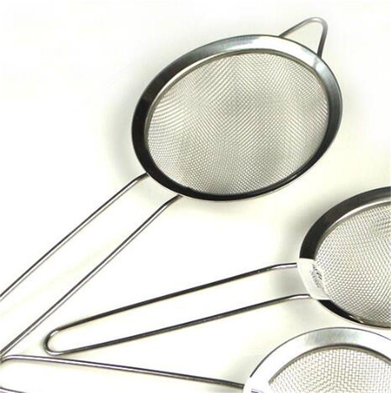 Colador de malla fino de acero inoxidable Colador de harina de harina con mango de jugo y colador de té Herramientas de cocina 247 V2