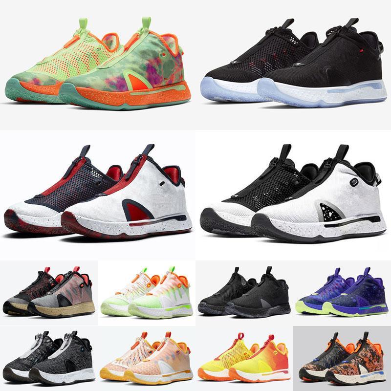 2021 PG 4 IV Erkek Basketbol Ayakkabı Siyah Beyaz Oreo Paul GX Gatorade Eğitmenler George Düz Düşük Erkekler Spor Sneakers Boyutu 40-46