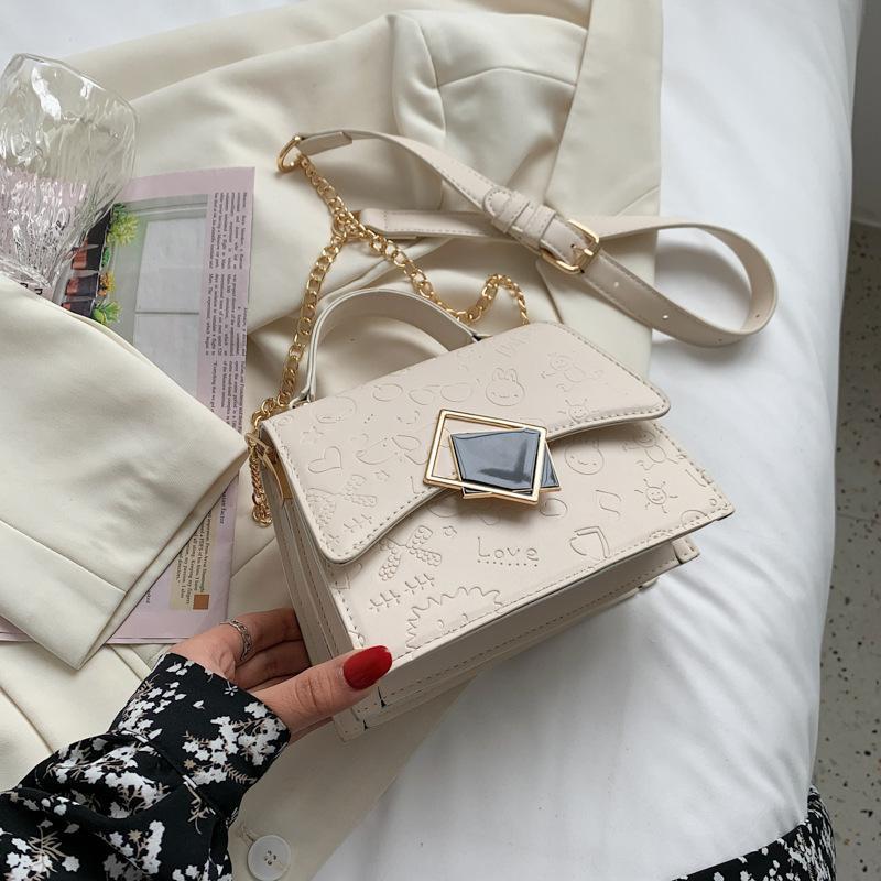 인쇄 디자인 빈티지 잠금 해시 PU 핸드백 체인 핸드백 지갑 어깨 가방 숙녀 메신저 십자가 가방 Bolso Feminina