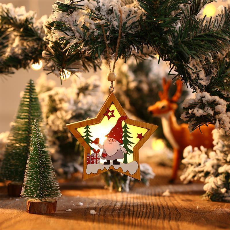 لوازم الحزب في عيد الميلاد غابات كبار السن قلادة خشبية مضيئة Xmax شجرة الحلي جولة خمسة أشار النجوم المعلقات FWF8276
