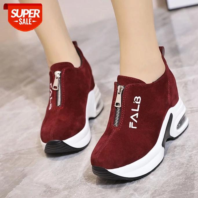 Baskets Femmes avec plate-forme Chaussures Femme Casual Femme Coin Wedge Panier 2021 Chaussures Tennis Femme Femme Femme Femme Trains d'été # 1J4Q