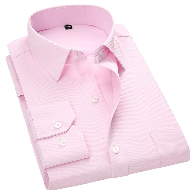 Мужские платье с длинным рукавом рубашка новая мода дизайнер высококачественный твердый мужской одежда подходит деловые рубашки белый синий черный 4XL 210322