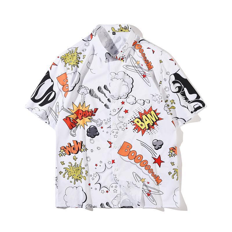 الصيف فضفاضة الشباب نمط كتابات رسالة طية صدر السترة قميص الكورية الشارع الأزياء الهيب هوب الرياضة ملابس اليومية ارتداء عارضة الأعلى للرجال قميص الرجال