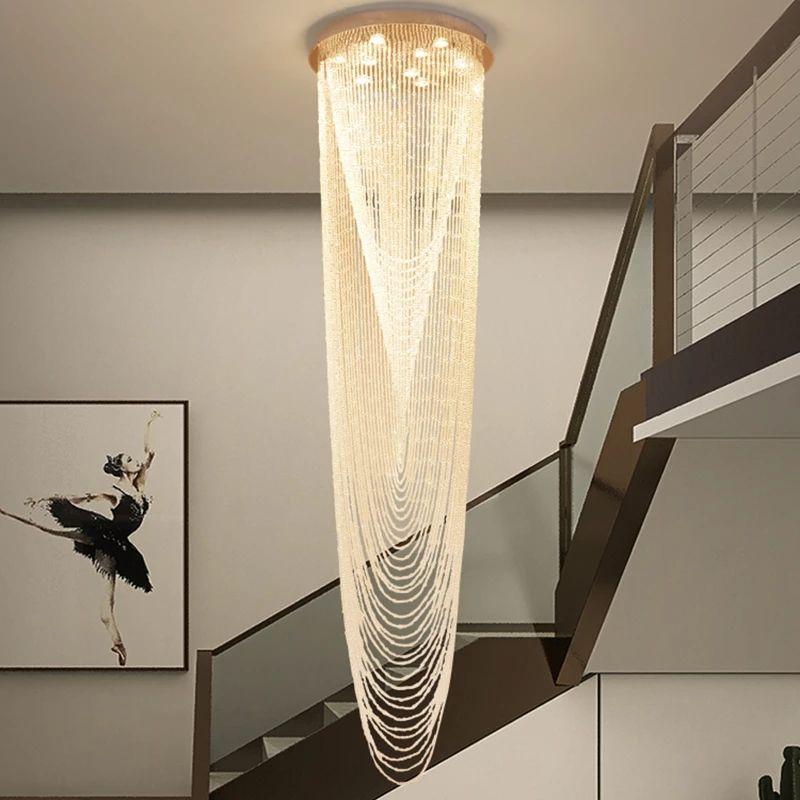 Lámpara de cadena de cristal de la araña moderna para la sala de estar LED LED Decoración de la luz Lighty Lighty redondo grande Iluminación interior