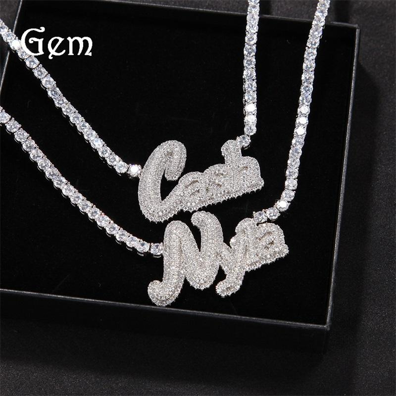 Unique Fashion Custome Name Letter Necklace Gold Plated Bling Icy CZ Letter Pendant Necklace With 4mm 20inch CZ Tennis Chain for 132 U2