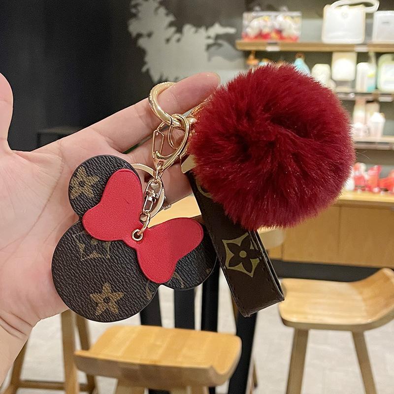 12 estilos Moda PU Chaveiro Chaveiro Mouse Design Chaveiro Chaveiro Clássico Flor Padrão Bonito Dos Desenhos Animados Chaveiros Keyring Titular para Mulheres Homens Bag Acessórios Pingente