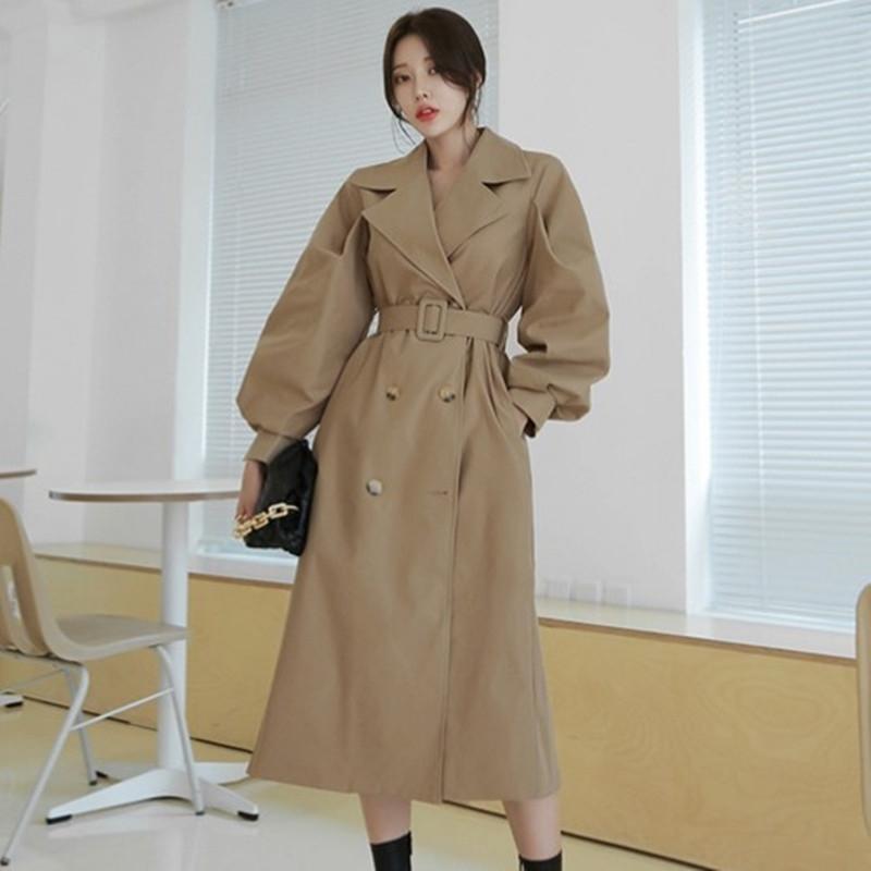 Herbstfrauen Double Breasted Long Trenchcoat mit Gürtel Windjacke Weibliche Klassische Casual Office Dame Business Outwear 210603
