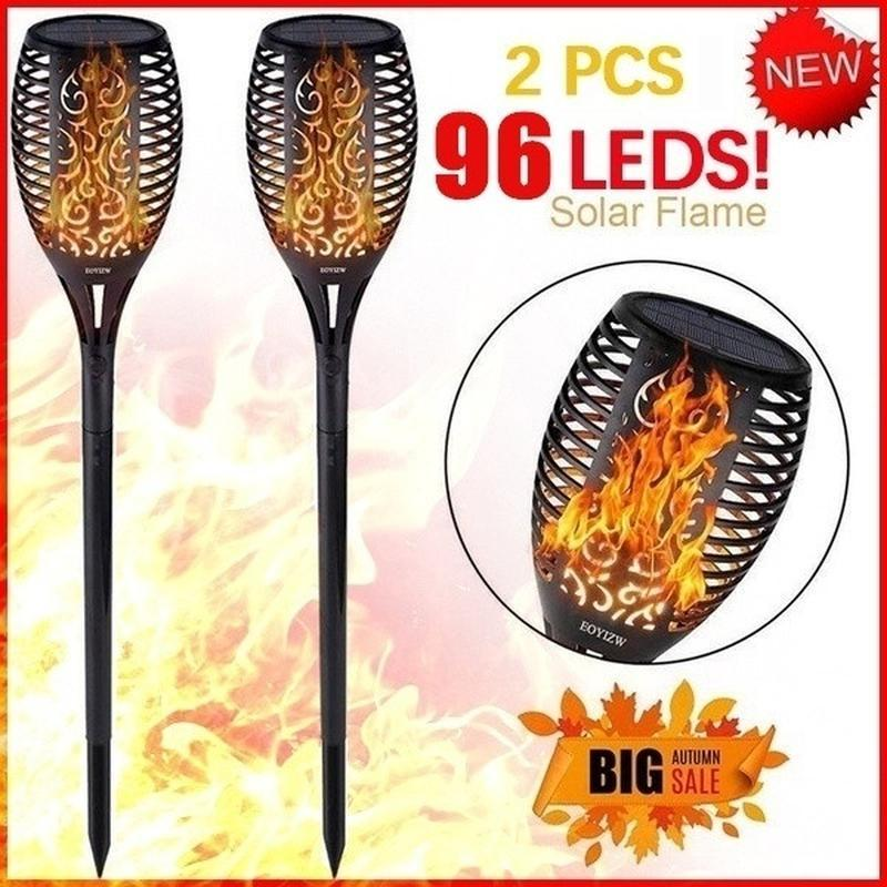 Solar Tiki Torch Outdoor Waterproof Flame Lights Lantern Lamp Garden Pathways Yard Patio High Quality Decor Lawn Lamps
