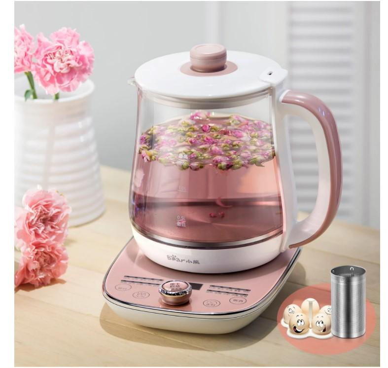 Bear Health Pot Completamente automatico di vetro più spesso multifunzione del tè macchiatore di flower flower vasi di latte vaso temperatura display