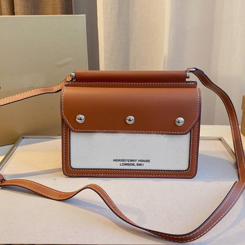 Classic Tote Messenger Bag Genuine Leather Women Handbag Canvas Patchwork Crossbody Bags Simple Design Fashion Letter Adjustable Shoulder Strap Handbags Wallet