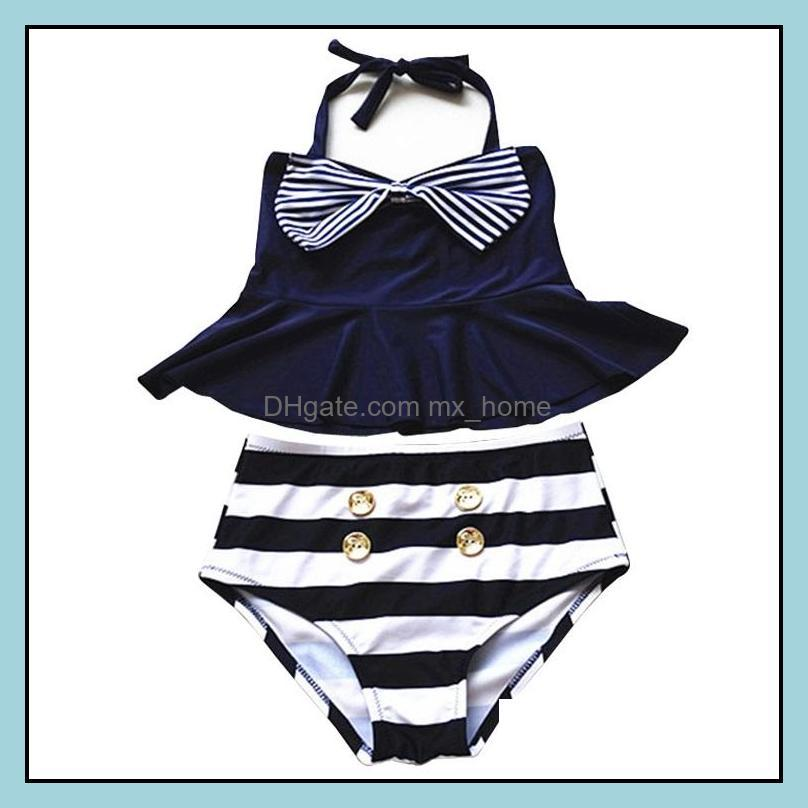 One-Pieces Swim Baby Clothing Baby, & Maternityprettybaby Big Girls Skirt Two Piece Swimsuits Striped Sailor Shirt High Waist Bikini Set Nav