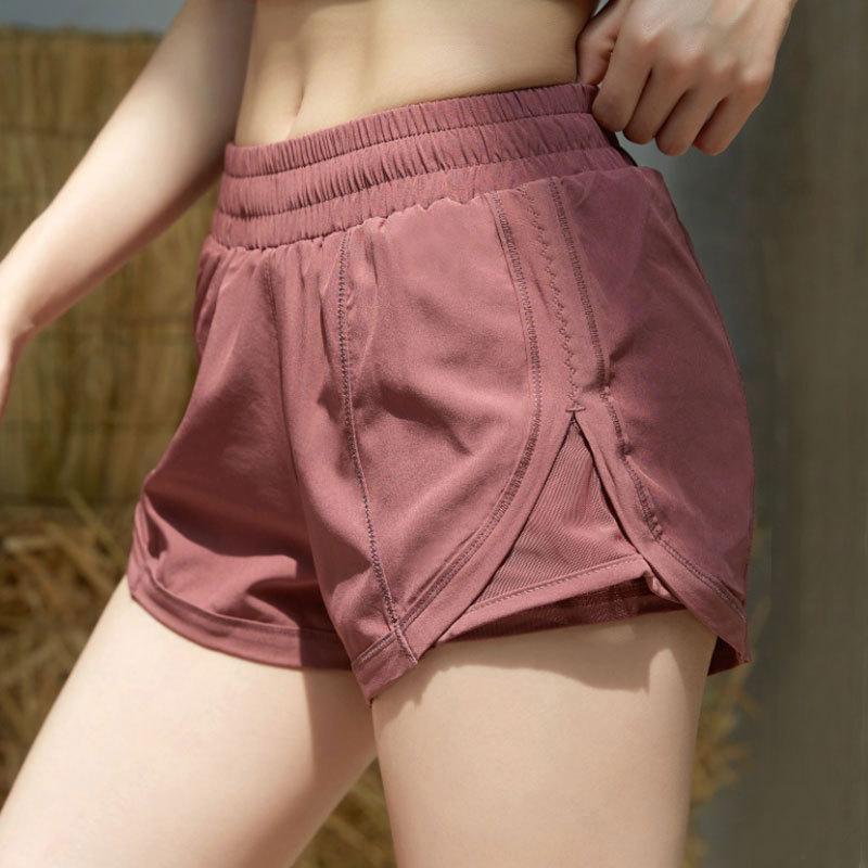 L-16 Yoga Kısa Pantolon Çift Laye Kıyafet Bayan Spor Şort Gevşek Nefes Rahat Koşu Spor Kızlar Egzersiz Spor Giyim