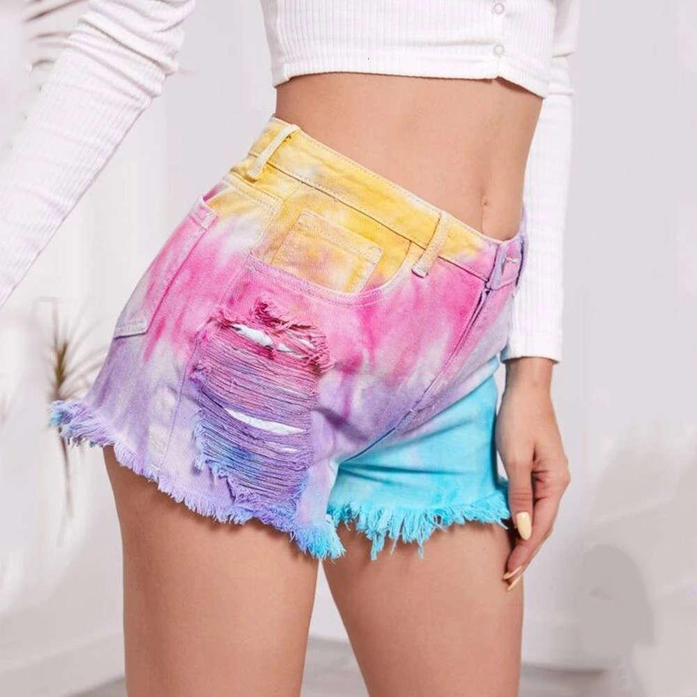 Jean Yüksek Bel Seksi Kadınlar 2021 Yaz Krave Boyası Baskılı Spor Sıcak Pantolon Moda Rahat Şort Kot Kadın Giyim Y2K