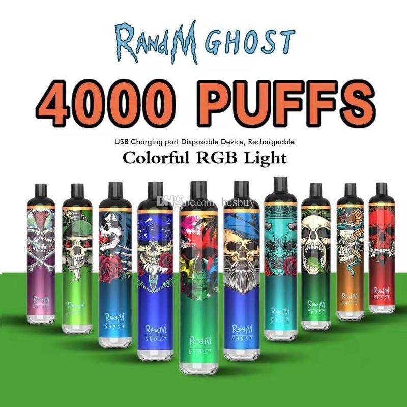 100% Original Randm Ghost E-Cigarette Jetable Pod Device Device 4000 Puffs 1000MAh Batterie rechargeable préremplie 8 ml Pods Cartouche de vape authentique