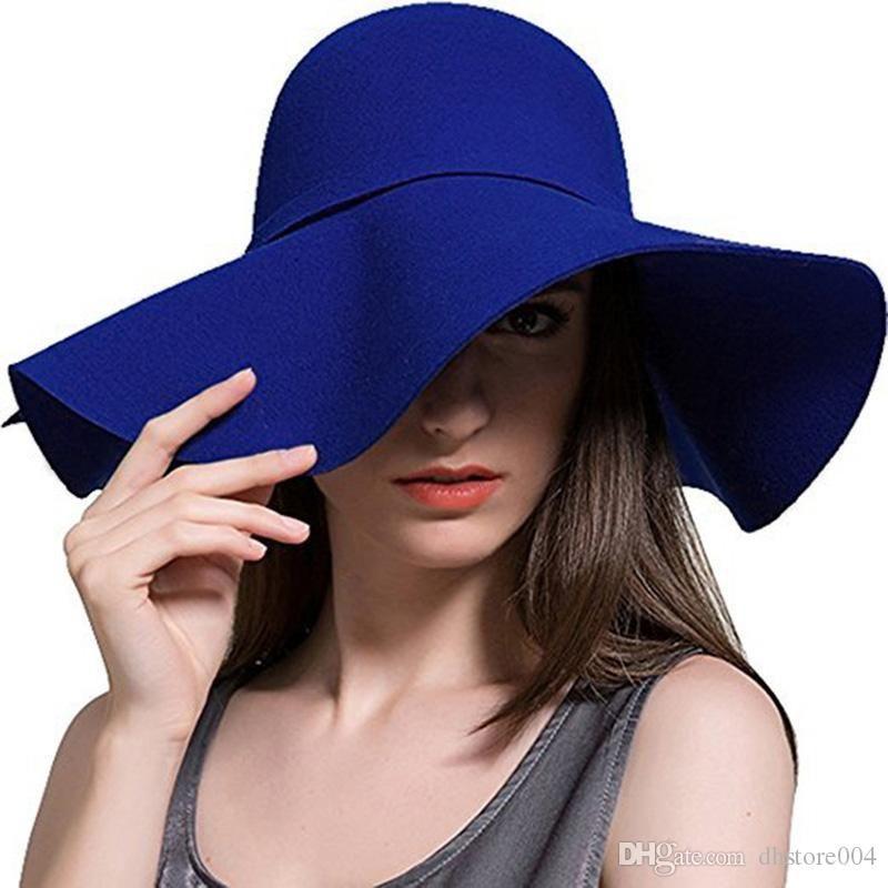 جديد أزياء المرأة الصوف المرنة قبعة واسعة بريم فيدورا قبعة خمر bowknot شعرت قبعة عالية الجودة مريح سيدة الشمس شاطئ كاب في الهواء الطلق